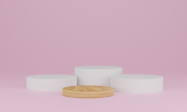 Rendering 3d. scena minima astratta con geometrica. podio in legno su sfondo rosa. piedistallo o piattaforma per esposizione, presentazione del prodotto, mock up, spettacolo di prodotti cosmetici Foto Premium