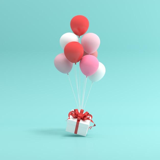 Rendering 3d di confezione regalo e palloncini. Foto Premium