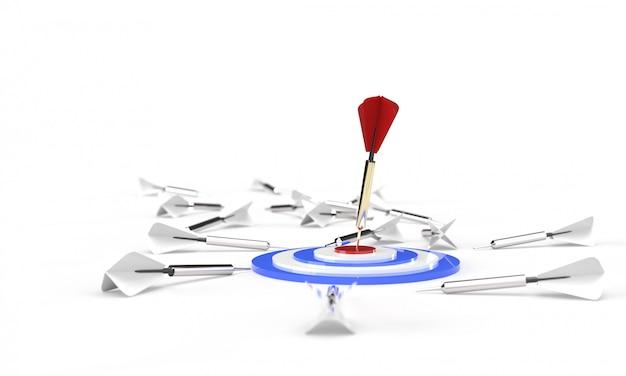 Rendering 3d, rosso dorato solo un dardo che colpisce il centro di un bersaglio blu bianco rosso, molte freccette grigie bianche sul pavimento, isolato su bianco. affari strategici o concetto di motivazione. Foto Premium