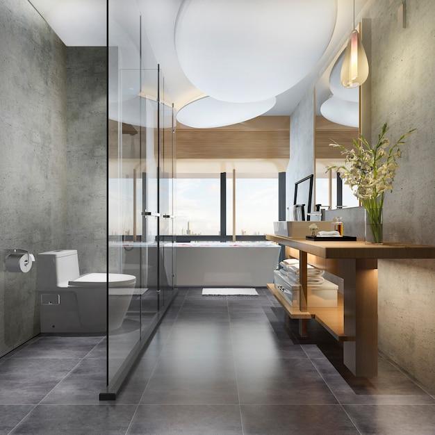 3d che rende il bagno e la toilette di lusso di progettazione moderna Foto Premium