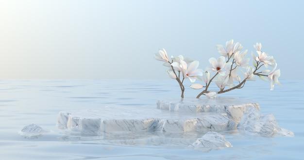 Rendering 3d di podio in marmo e fiore di magnolia. Foto Premium