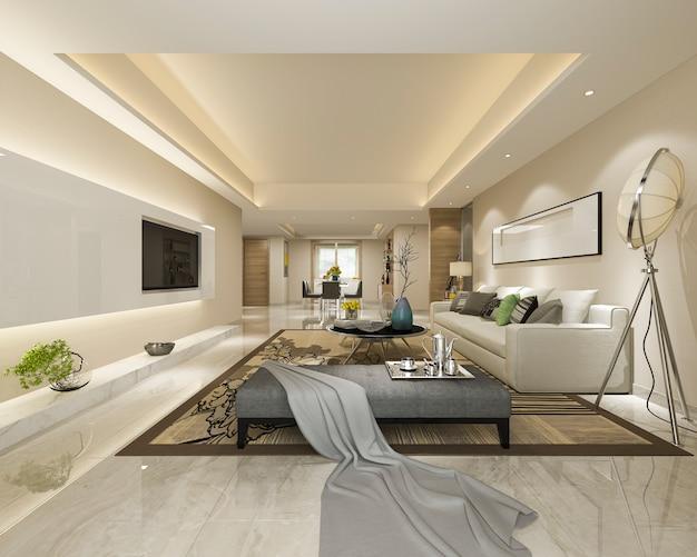3d rendering moderna sala da pranzo e soggiorno con ...
