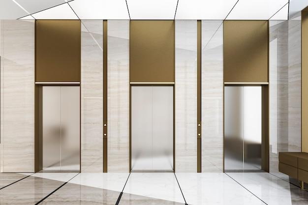 3d che rende l'ingresso d'acciaio moderno dell'ascensore dell'elevatore nell'hotel di affari con progettazione di lusso Foto Premium