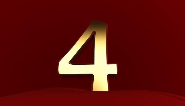 Rendering 3d del numero 4, numero quattro in metallo dorato, testo 3d, Foto Premium