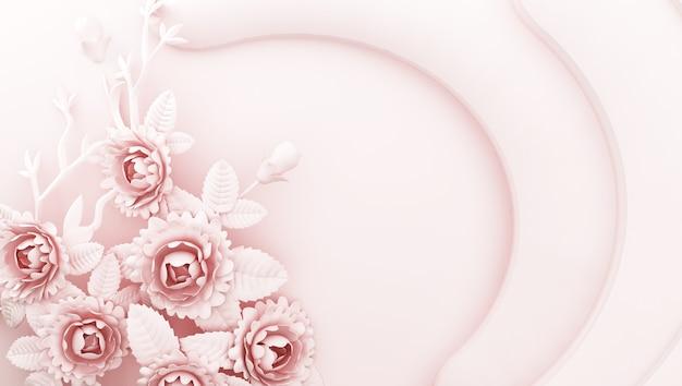 Rendering 3d di sfondo rosa con fiori sui lati Foto Premium