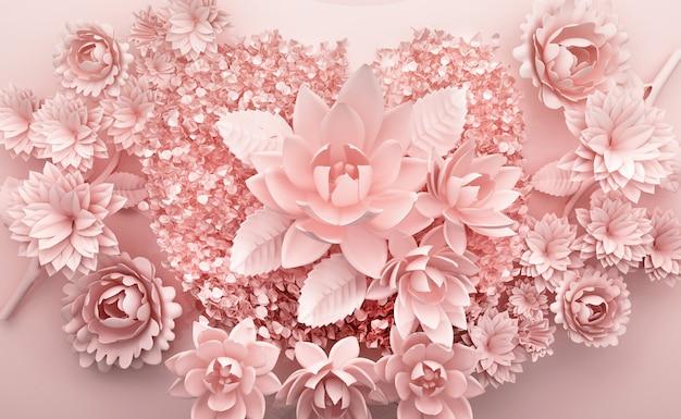 Rendering 3d di sfondo rosa con fiori di lusso Foto Premium