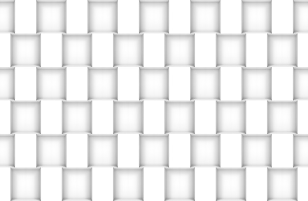 Rendering 3d. senza soluzione di continuità moderna scatola quadrata bianca modello parete design texture di sfondo. Foto Premium