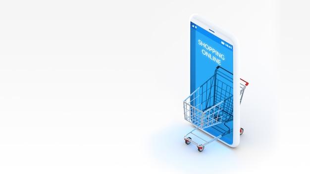 Vista isometrica di compera online di concetto, del carrello e del telefono cellulare della rappresentazione 3d con lo spazio della copia. Foto Premium