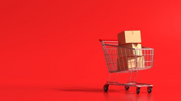 Concetto online di compera della rappresentazione 3d, carrello con la scatola di cartone su fondo rosso. Foto Premium