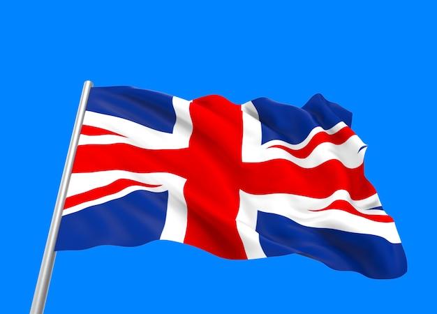 Rendering 3d. ventoso che scorre bandiera nazionale del regno unito Foto Premium