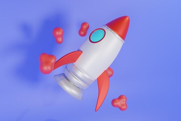 Illustrazione 3d rocket design Foto Premium