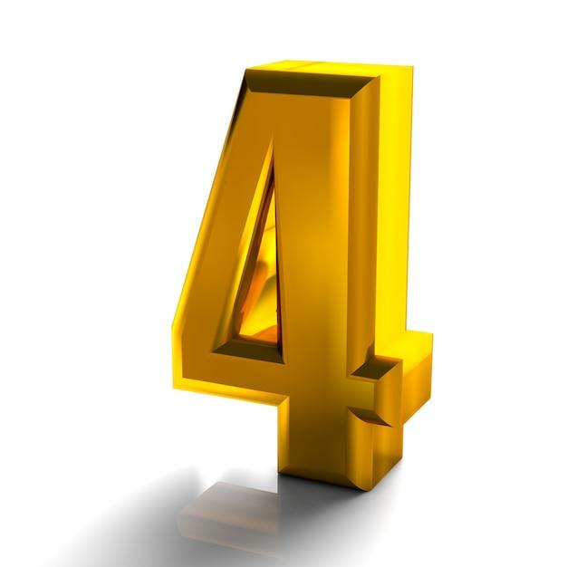 3d 3d di numero 4 d'oro lucido quattro raccolta 3d rendering isolato su bianco Foto Premium
