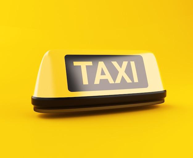 Segno di taxi giallo 3d Foto Premium