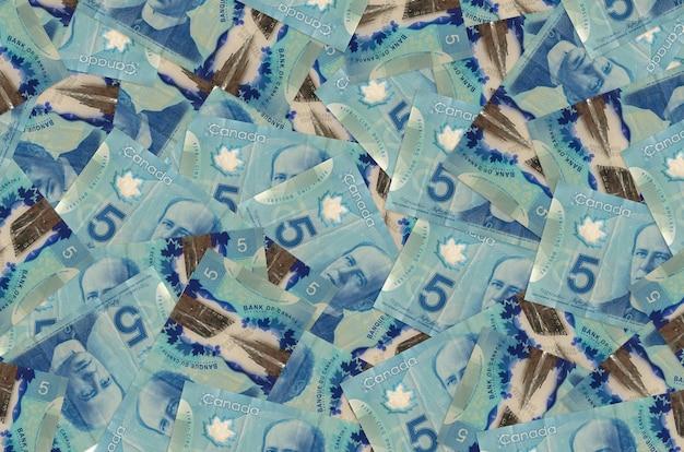 5 banconote in dollari canadesi si trovano in una grande pila. parete concettuale di vita ricca. grande quantità di denaro Foto Premium