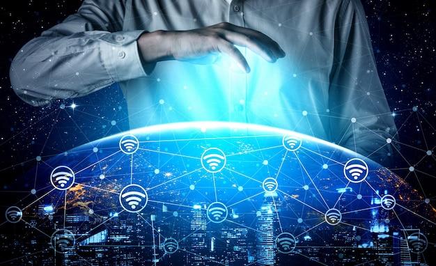 Rete internet wireless con tecnologia di comunicazione 5g per la crescita del business globale Foto Premium
