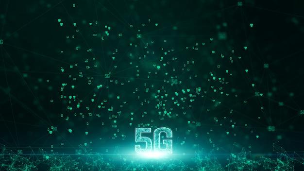 Connettività 5g di dati digitali e tecnologia dell'informazione futuristica concettuale che utilizza intelligenza artificiale ai Foto Premium