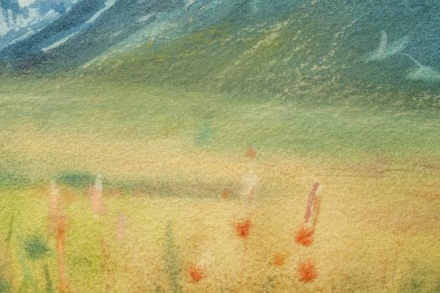 Arte astratta sfondo verde chiaro e colori gialli. dipinto ad acquerello su tela con morbida sfumatura verde oliva. frammento di opera d'arte su carta con disegno di campo. sfondo texture. Foto Premium