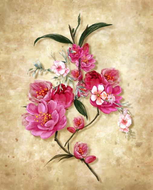 Pittura variopinta dei fiori di astrattismo Foto Premium