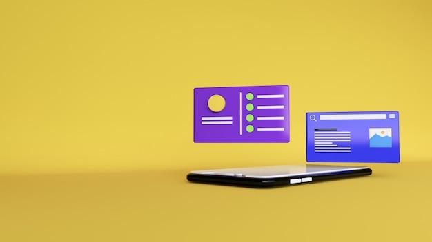 Sfondo astratto, mock up applicazione telefono scena con spazio chat, per il web. rendering 3d Foto Premium