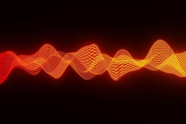 Astratto sfondo arancione audio onda battito cardiaco rendering 3d Foto Premium