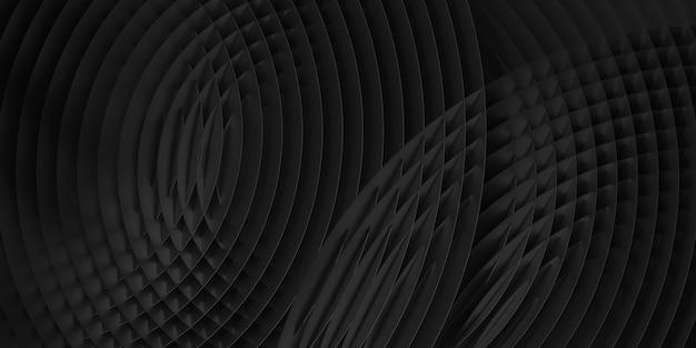 Modello geometrico sottile circolare nero astratto. illustrazione di rendering 3d. Foto Premium
