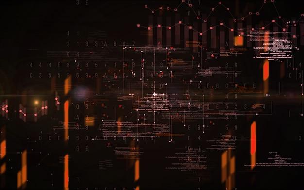 Astratto sfondo digitale. concetto futuristico di tecnologia dell'informazione di grandi quantità di dati. catena a blocchi Foto Premium