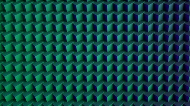 Priorità bassa digitale astratta pazza dei cubi 3d. verde e blu. rendering 3d. Foto Premium