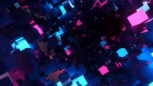 Volo astratto sullo sfondo del corridoio futuristico, luce ultravioletta fluorescente, cubi al neon colorati luminosi, tunnel geometrico infinito, spettro blu viola Foto Premium