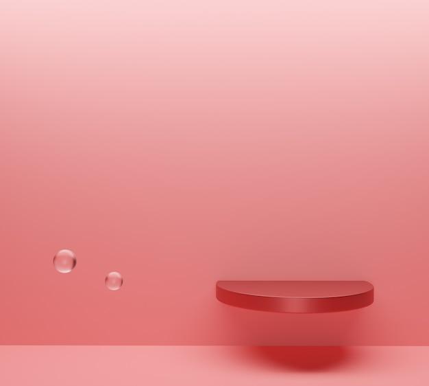 La scena minimale astratta con forme geometriche. podio sullo sfondo rosa con bolle. vettore premium Foto Premium