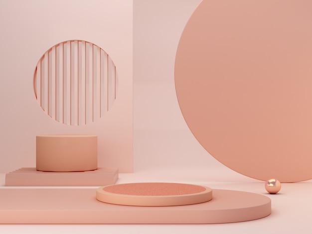 Scena minimal astratta con forme geometriche. podi cilindrici nei colori crema. sfondo astratto scena per mostrare prodotti cosmetici. vetrina, vetrina, vetrina. rendering 3d. Foto Premium