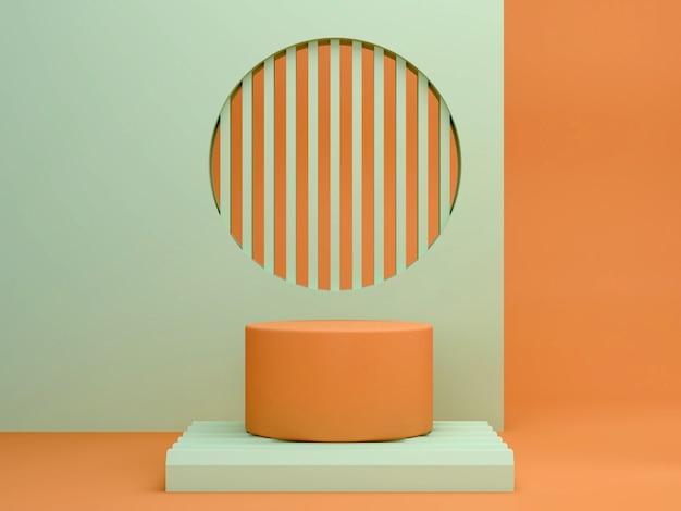 Scena minimal astratta con forme geometriche. podi cilindrici nei colori verde e arancione. sfondo astratto scena per mostrare prodotti cosmetici. vetrina, vetrina, vetrina. rendering 3d. Foto Premium
