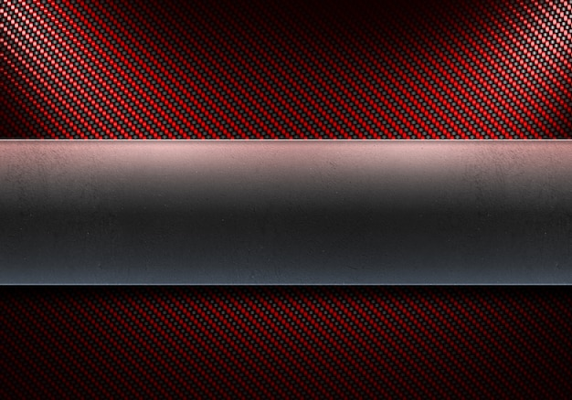 Fibra di carbonio rossa moderna astratta con piastra metallica lucida al centro Foto Premium
