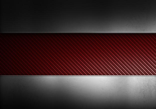 Fibra di carbonio rossa moderna astratta con piastre di metallo lucido. design materiale strutturato per sfondo, carta da parati, grafica Foto Premium