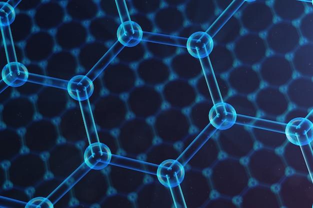 Primo piano esagonale astratto della forma geometrica di nanotecnologia, struttura atomica del grafene di concetto, struttura molecolare del grafene di concetto. concetto scientifico, illustrazione 3d Foto Premium