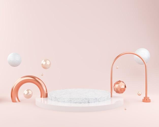 Mockup astratto sfondo rosa per esposizione del podio o presentazione in vetrina, mockup di cosmetici, rendering 3d Foto Premium