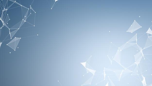 Forme geometriche del plesso astratto. connessione e concetto web. comunicazione digitale Foto Premium