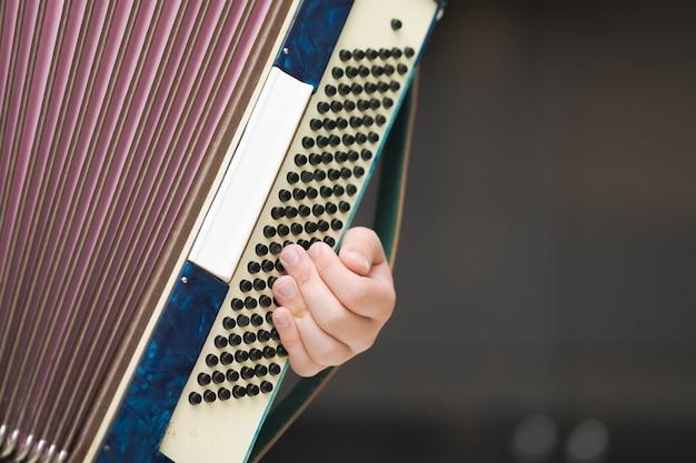 Fisarmonica nelle mani di un musicista, vista ravvicinata. Foto Premium