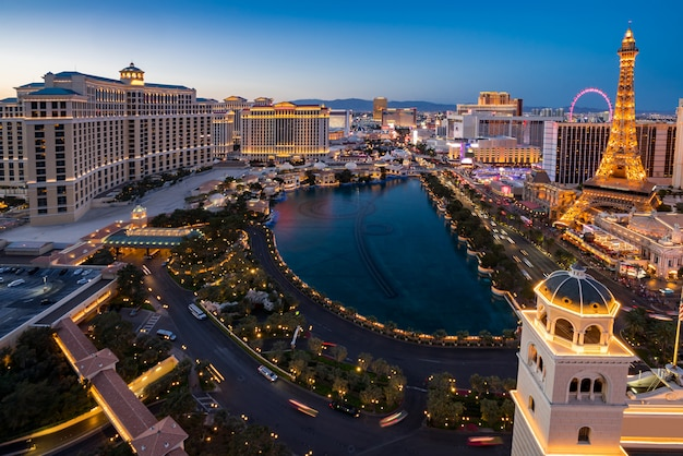 Aerial las vegas di notte Foto Premium