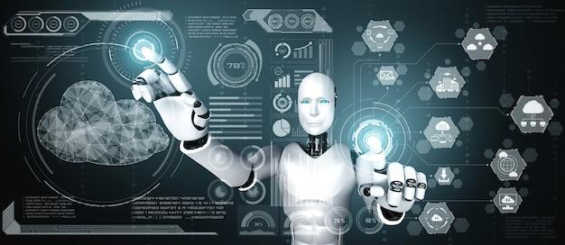 Robot ai che utilizza la tecnologia del cloud computing per archiviare i dati sul server online Foto Premium