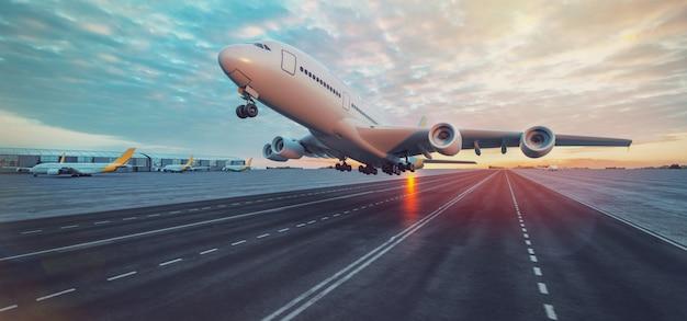 Aereo in decollo dall'aeroporto. Foto Premium