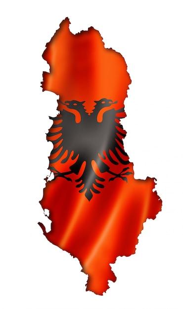 Mappa della bandiera albanese Foto Premium