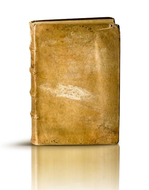 Libro antico sulla superficie bianca Foto Premium
