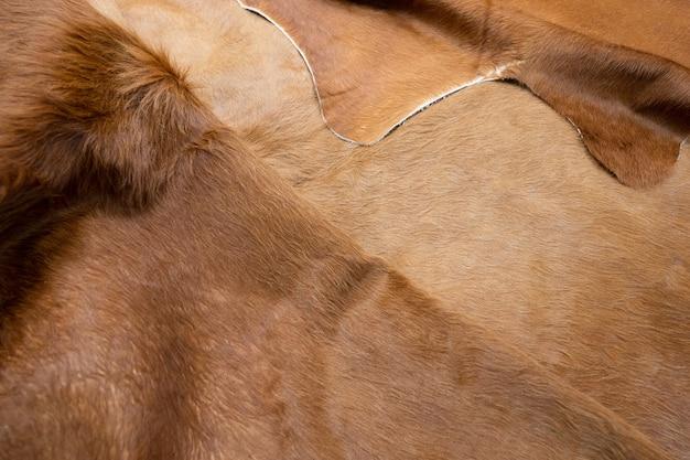 Peli di animali della priorità bassa di struttura del cuoio della mucca della pelliccia. pelle di vacchetta marrone soffice naturale. Foto Premium