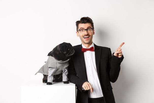 Concetto di animali, festa e celebrazione. Foto Premium