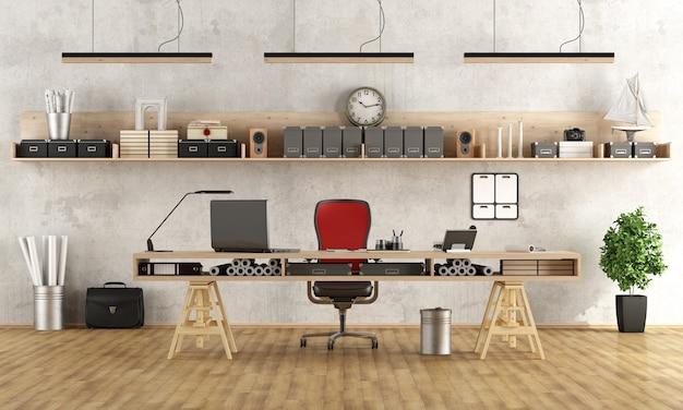 Luogo di lavoro di architettura o ingegneria con uno stile minimalista Foto Premium