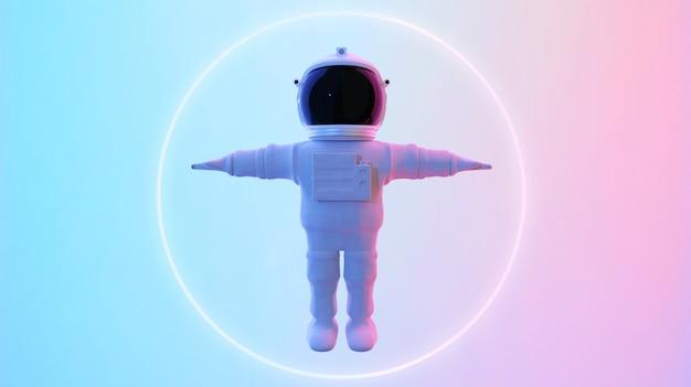 Astronauta in piedi in background psichedelico Foto Premium