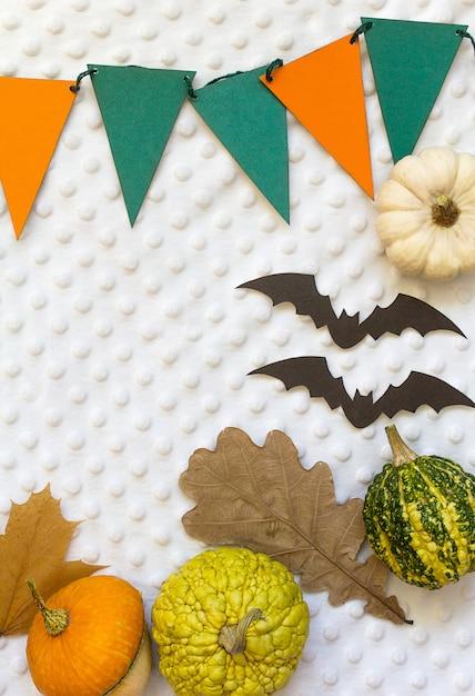 Zucche di halloween di autunno, fondo bianco Foto Premium