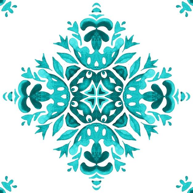 Stile di design delle mattonelle azulejo. modello acquerello ornamentale senza cuciture disegnato a mano astratto. Foto Premium