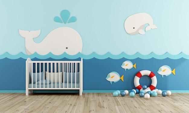 Baby room con culla, salvagente e palline liyyele su pavimento in legno Foto Premium