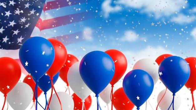 Palloncini con bandiera usa su sfondo cielo 3d rendering Foto Premium